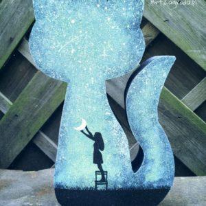 Kot galaxy Dziewczyna trzyma księżyc