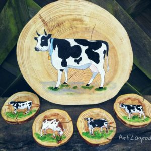 Podkładki pod kubki Krowa i podkładka pod talerz Krowa