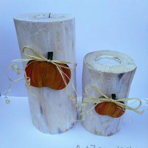 Świeczniki z dynią bielone